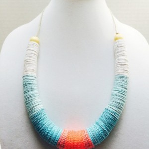 Turquoise and coral necklace, Paper jewelry, Statement necklace, colorful, adjustable, Metal free jewelry, hemp, hypoallergenic