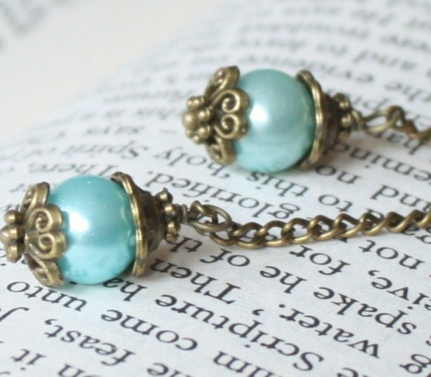 Antique Style Chain and Baby Blue Pearl Earrings Antique Brass Neo Victorian, Vintage inspired Jewelry, Something Blue