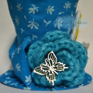 Handmade Teeny Tiny Top Hat, FREE SHIPPING, Tinkerbell inspired tiny top hat, Blue floral hat with crocheted rose and butterfly
