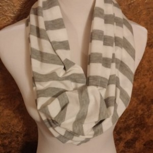 ONLY ONE White and Gray Striped Cotton Infinity Scarf
