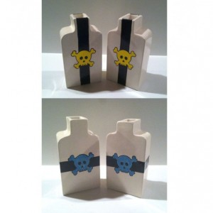 Set of 2 Black Blue Yellow Skull Apothecary Jars Bottles Ceramic Pottery Made in OHIO USA