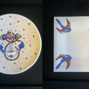 Large Serving Cookie Plate Platter Nautical Anchor Sparrows Rockabilly Tattoo Ceramic Pottery OHIO USA