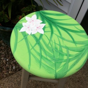 Handpainted barstool, Tropical, Flowers, Palm (or your Individual design)