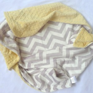 Unisex Baby Blanket - Grey Chevron with Yellow Minky Lovie, Security Blanket with Minky for Baby Boy Baby Girl