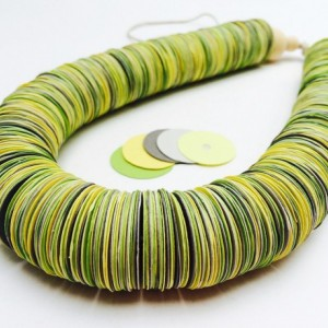 Paper necklace, Paper jewelry, Green, yellow, gray, Bold Statement necklace, colorful jewelry, adjustable, Metal free jewelry, hemp