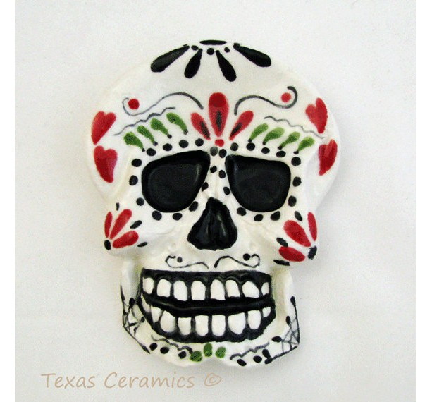Day of The Dead Skull Ceramic Tea Bag Holder Small Spoon Rest or Catch All Hand Painted Original Mexican Folk Art Design