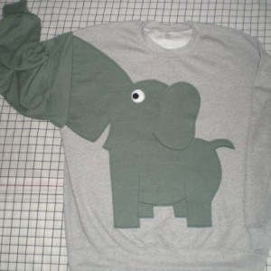 Elephant sweater, sweatshirt, shirt with trunk sleeve.large, grey with grey green heather elephant
