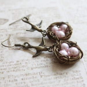 Swooping Sparrow Birds Antique Brass Earrings With Pink Pearl Wire Wrapped Nest, Nature inspired, Wedding, Bridal, Mother