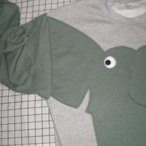 Elephant sweater, sweatshirt, shirt with trunk sleeve. Adult medium, grey with grey green heather elephant