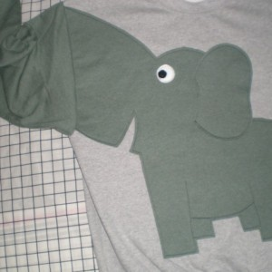 Elephant sweater, sweatshirt, shirt with trunk sleeve.xlarge, grey with grey green heather elephant
