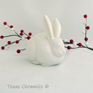 Soft White Ceramic Bunny Rabbit Cotton Ball Holder Bath Vanity Decor