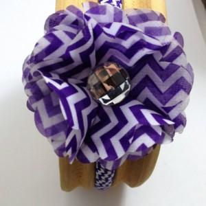 Dark Purple Chevron Flower Headband