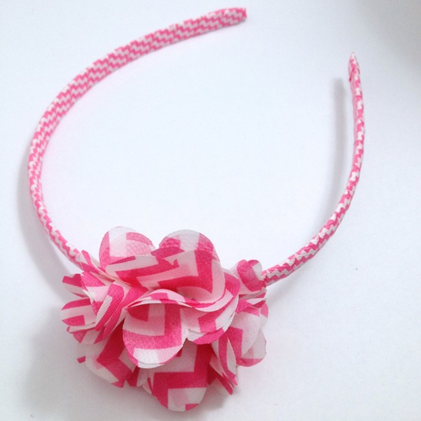 Hot Pink Chevron Flower Headband