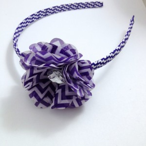 Dark Purple Chevron Flower Headband