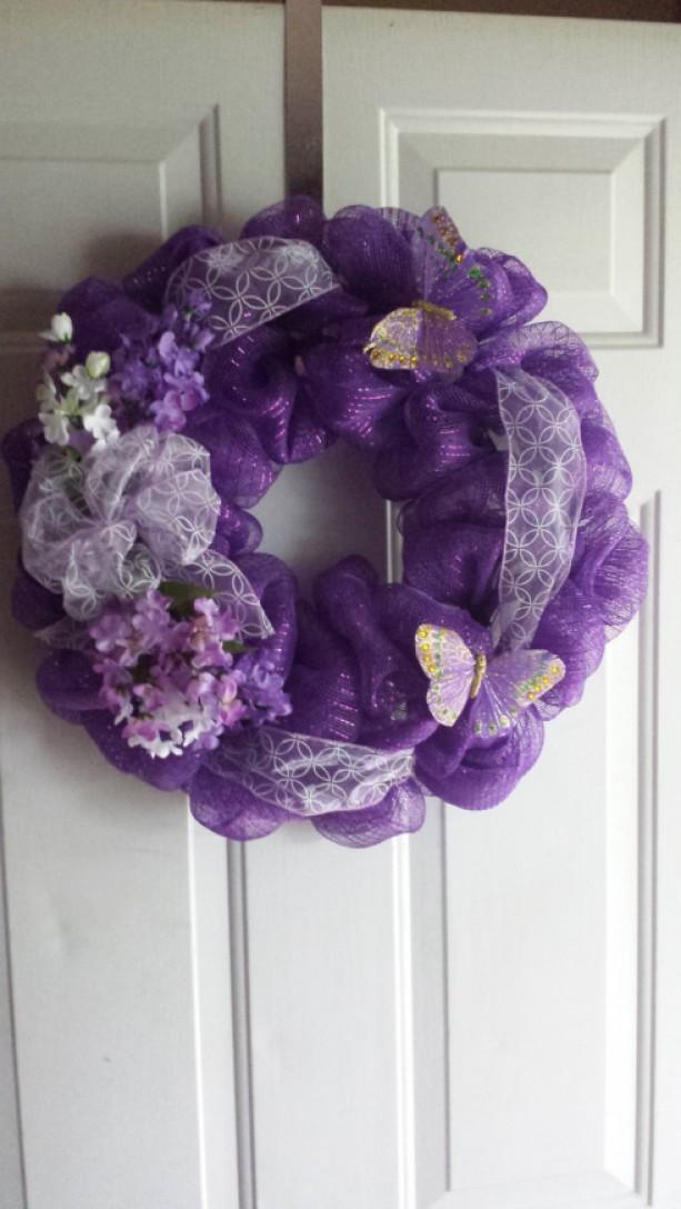 Wreath Butterfly Wreath Outdoor Wreath Indoor Wreath Purpl