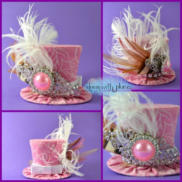 55e8803e3a2 Handmade Tiny Top Hat- Free shipping- Pink mini top hat- Tiny hat ...