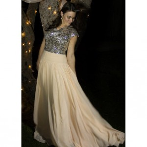 Alicia Sequin & Chiffon Modest Prom Dress