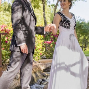 Sidney Black & White Modest Prom Dress