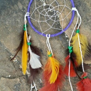 Dream Catcher Wall Hanging - Purple Feathered Small Dreamcatcher