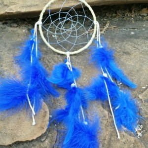 Dream Catcher, Children's Room Decor, Small Blue and Yellow Dreamcatcher, Sweet Dreams