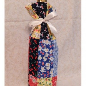 Reusable Patchwork Wine Bottle Gift Bag & Ribbon