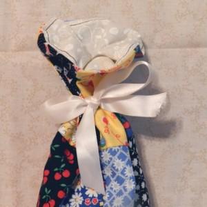 Reusable Patchwork Wine Bottle Gift Bag & Ribbon