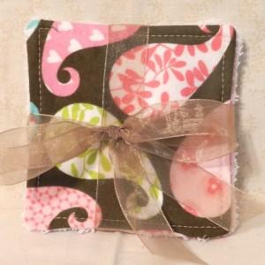 Grab Bag! 4 Travel Size Girls Flannel & Terry Cloth Washcloths