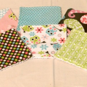 Grab Bag! 4 Travel Size Girls Flannel & Terry Cloth Washcloths