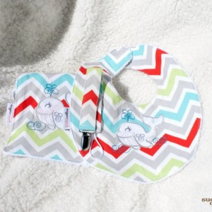 Baby Gift Set – Embroidered Zoom Zoom Harmony Burp Cloth, Bib and Loop Cord Pacifier Clip