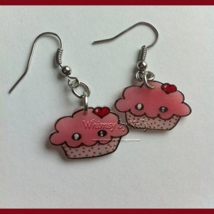 Kawaii Cupcake Earrings! Handmade, adorable, perfect for your Valentine!