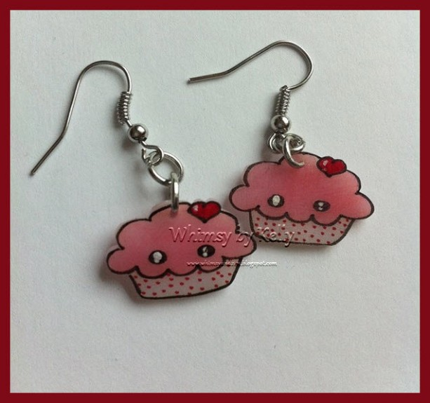Kawaii Cupcake Earrings! Handmade, adorable, perfect for your Valentine!
