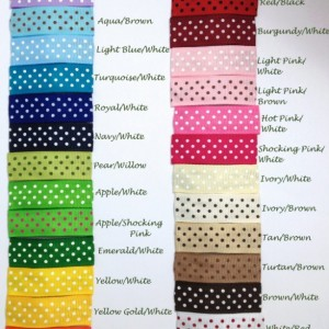 25 - 50mm - Solid, Swiss Dots Lined Snap Clips - 2 inches - Solid, Dots Grosgrain Ribbon Lined Snap Clips - Ribbon Lined Hair Clips
