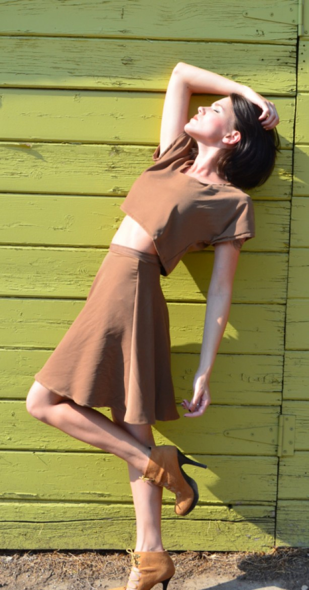 Stretch moleskin suede half circle skirt with invisible zipper