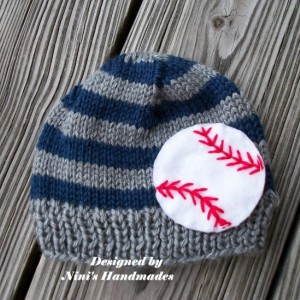 Knit Boys Beanie with  BASEBALL  design, Made in the USA, baby outfit, boys accessories,  baby hats, boys baseball hat, toddler hats, Hats
