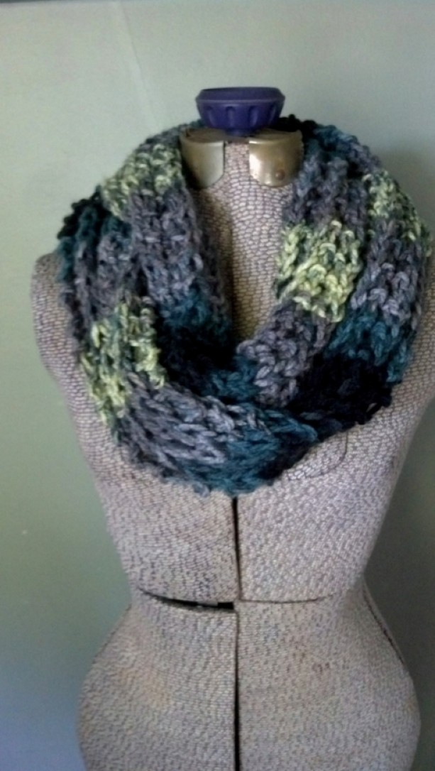 Gray Ombre Infinity Scarf Chunky Knit Circle Scarf Fashion Scar