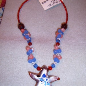 Big Glass Starfish Multicolors Quartz Couture Necklace