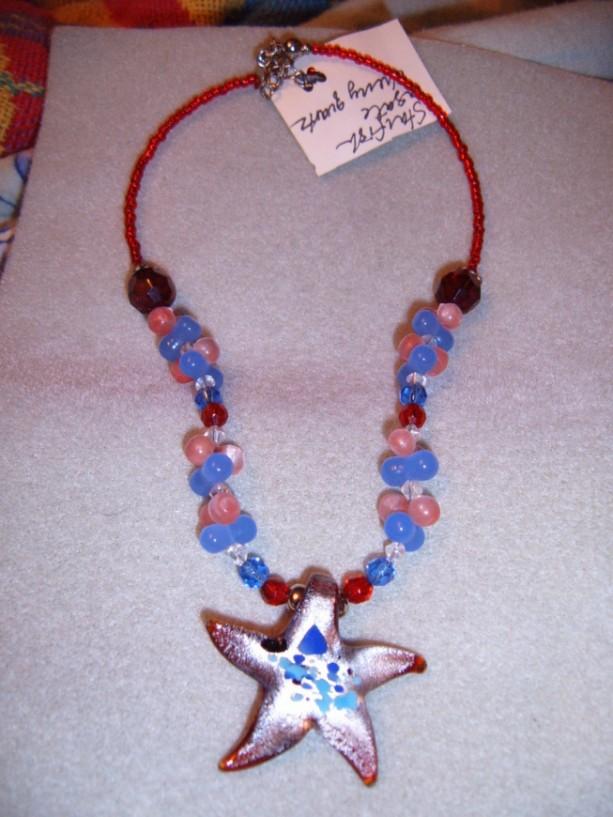 Big Glass Starfish Multicolors Quartz Couture Necklace