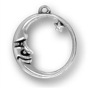 Sterling Silver Circle Moon With Star Charm Necklace