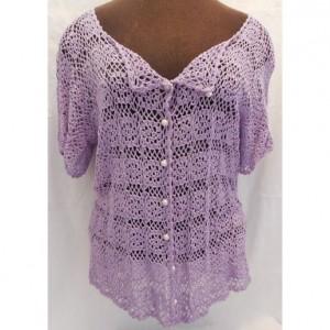 Bamboo Thread Crochet Ladies Top , Lacey Purple Crochet Motif Summer Shirt , Size Large Woman's Top