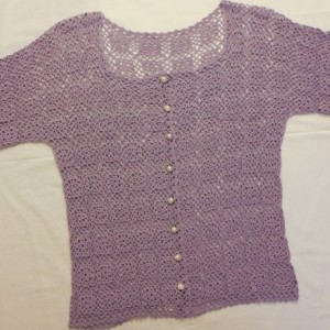 Bamboo Thread Crochet Ladies Top , Lacey Purple Crochet Motif Summer Shirt , Size Large Woman's Top