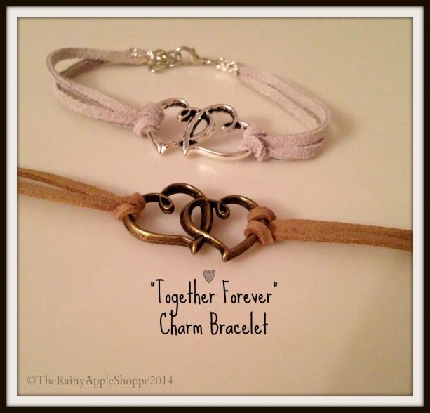 hearts charm bracelet, jewelry in handmade, heart infinity bracelet, handmade jewelry,suede bracelet, antique charm bracelet,8 inch diameter