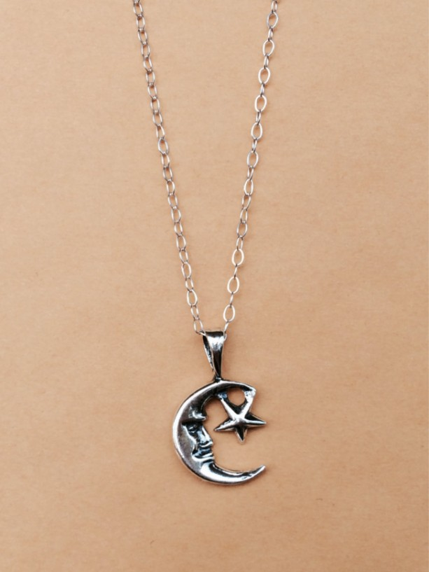 Sterling Silver Man in the Moon With Star Charm Necklace