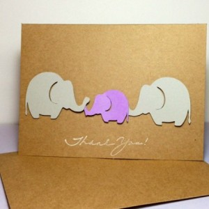 Baby Elephant Thank You Note Card Purple and Grey Elephants Elephant Thank You Cards, Elephant Baby Shower, Handmade Baby Shower Cards