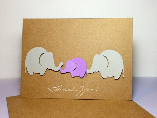 elephant baby elephant thank you note card purple and grey elephants elephant thank you cards elephant