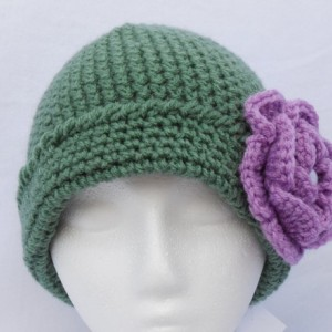 "Medium Green Beanie , Purple Flower with "" Pearl "" Bead in Center , Light Green Leaf , Women / Teen / Tween , Beanie , Hat     fb101"