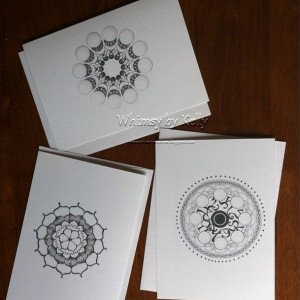 Mandala Notecards, lineart, hand drawn, pen and ink