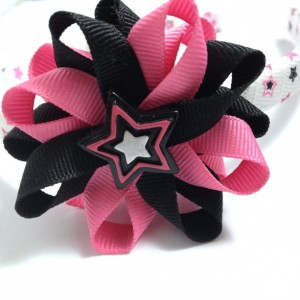 Pink Black Rock Star Hair Bow Headband