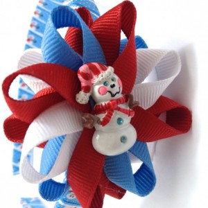 Blue White Red Snowman Hair Bow Headband