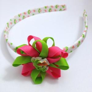 Pink Lime Palm Trees Hair Bow Headband