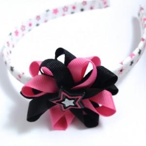 Pink Black Rock Star Hair Bow Headband
